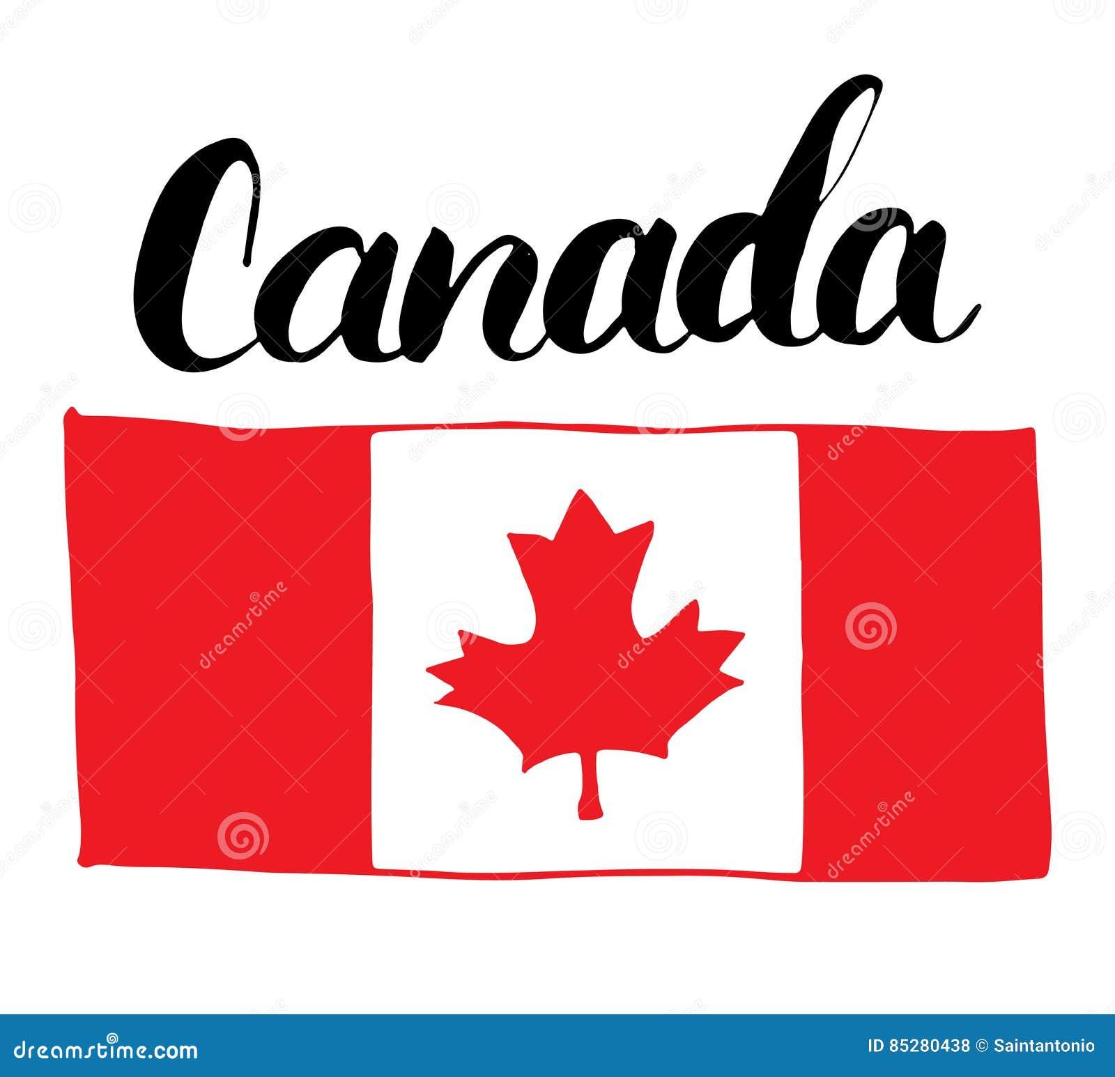 Bandera Dibujada Mano De Canadá, Con La Hoja De Arce Y El Ejemplo ...
