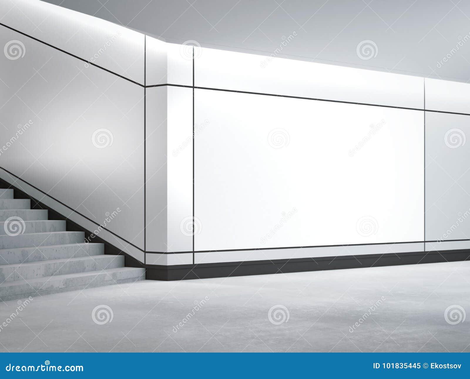 Bandera en blanco adentro subterráneo representación 3d