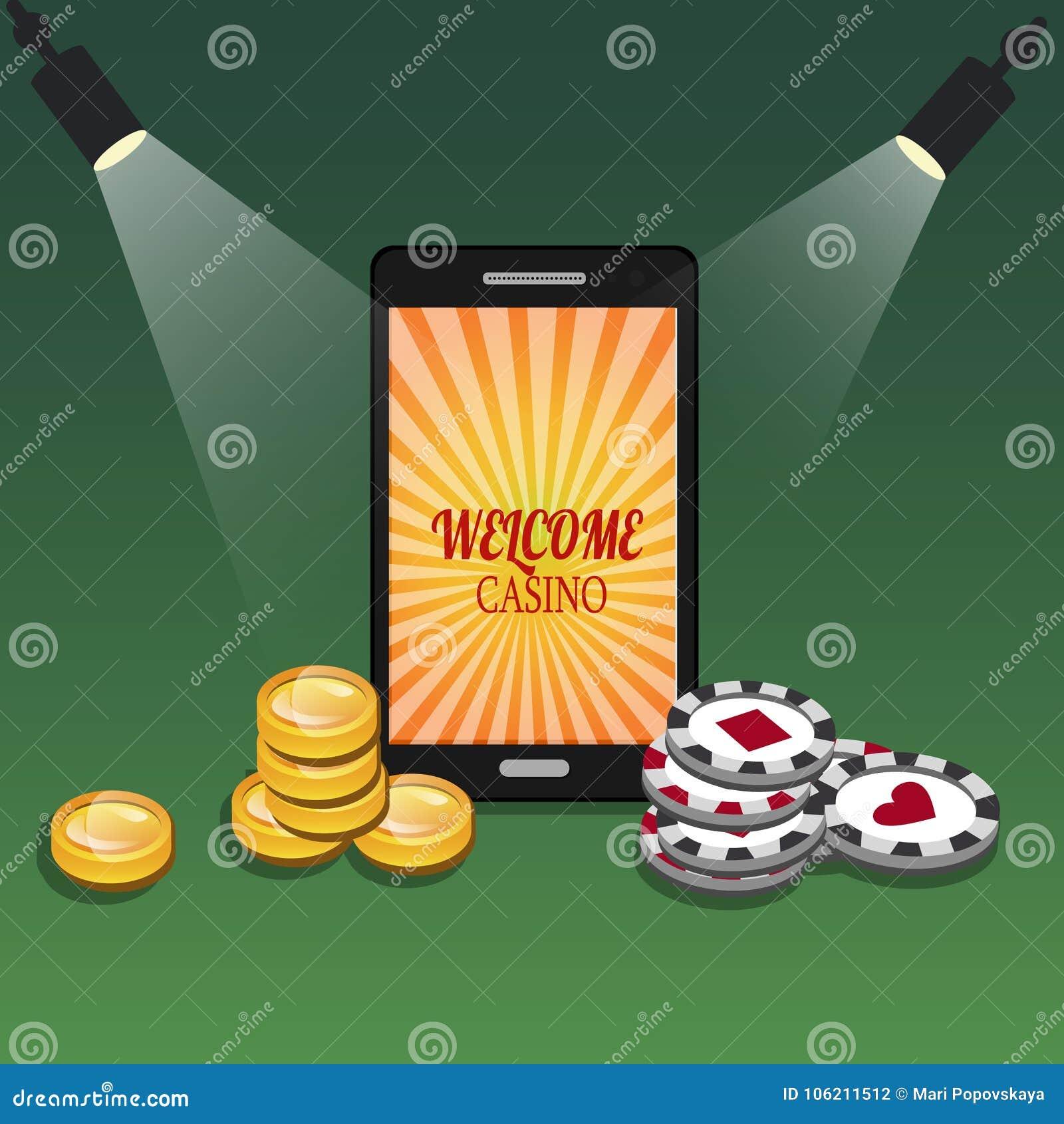 Bandera en línea del casino con un teléfono móvil, los microprocesadores y el dinero