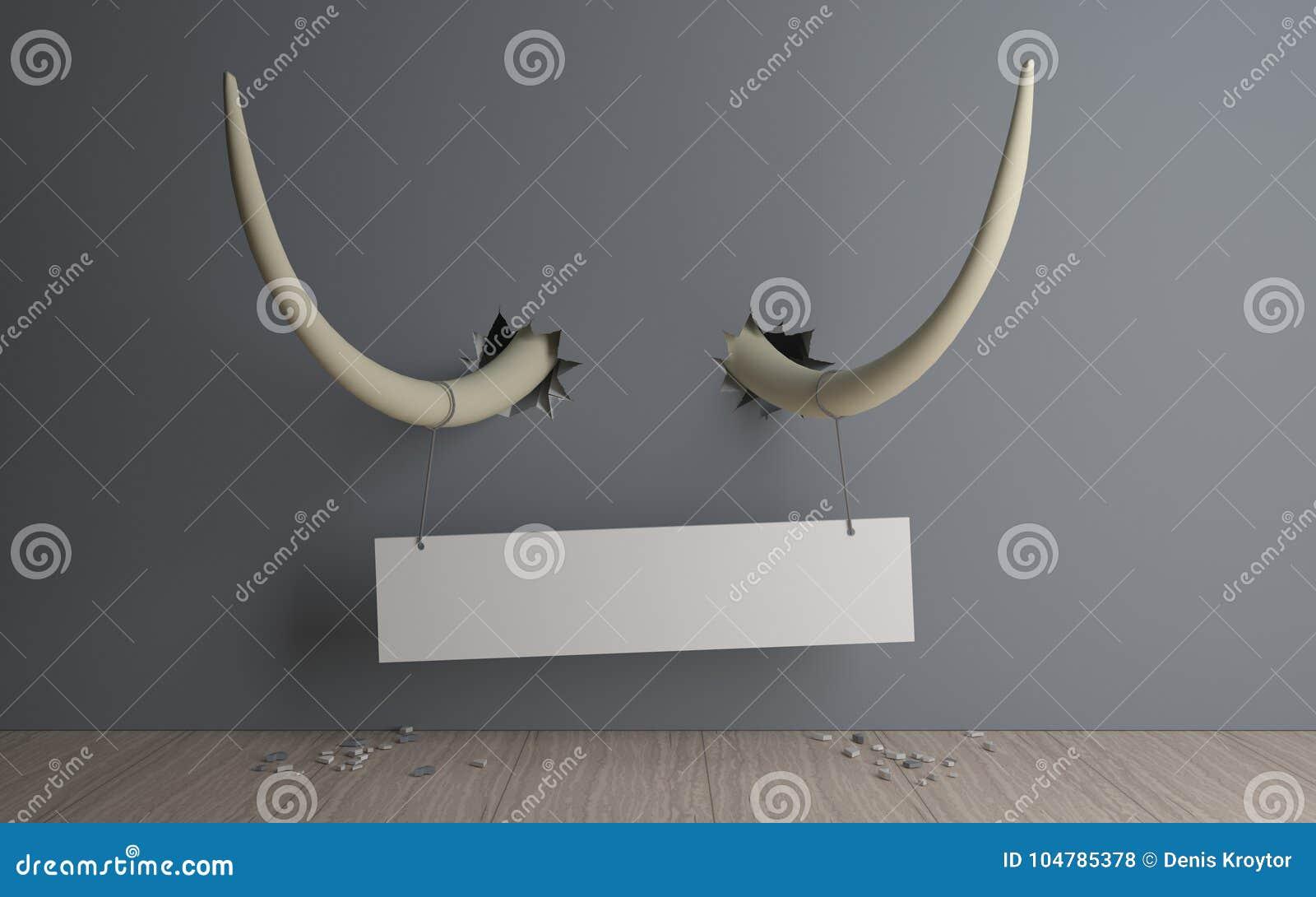 Bandera en los colmillos del elefante