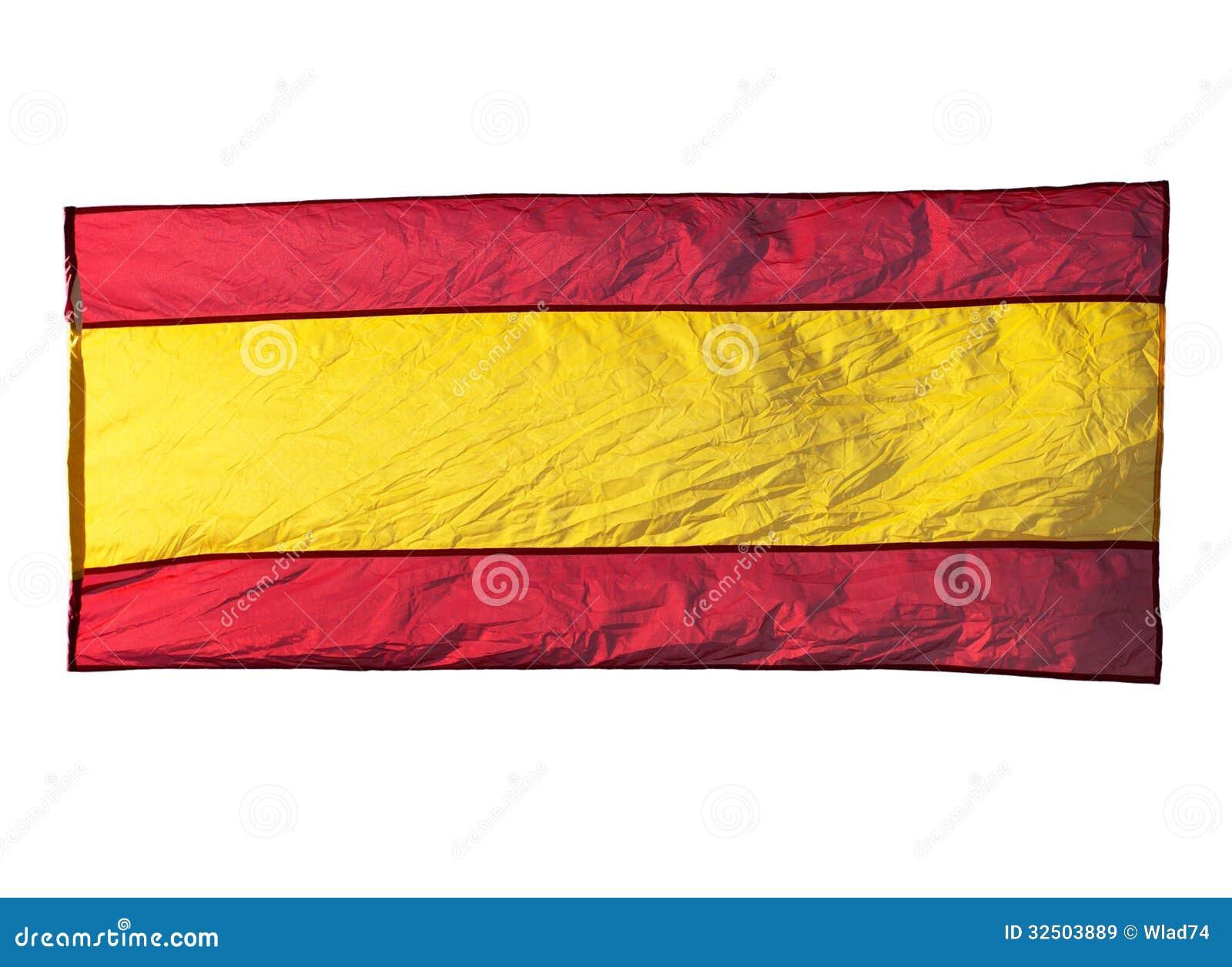 Bandera española aislada en viento