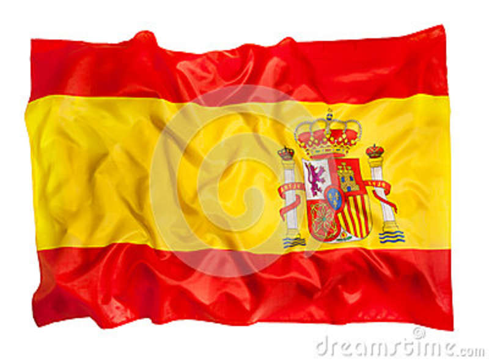 Bandera española de la seda que agita en el fondo blanco