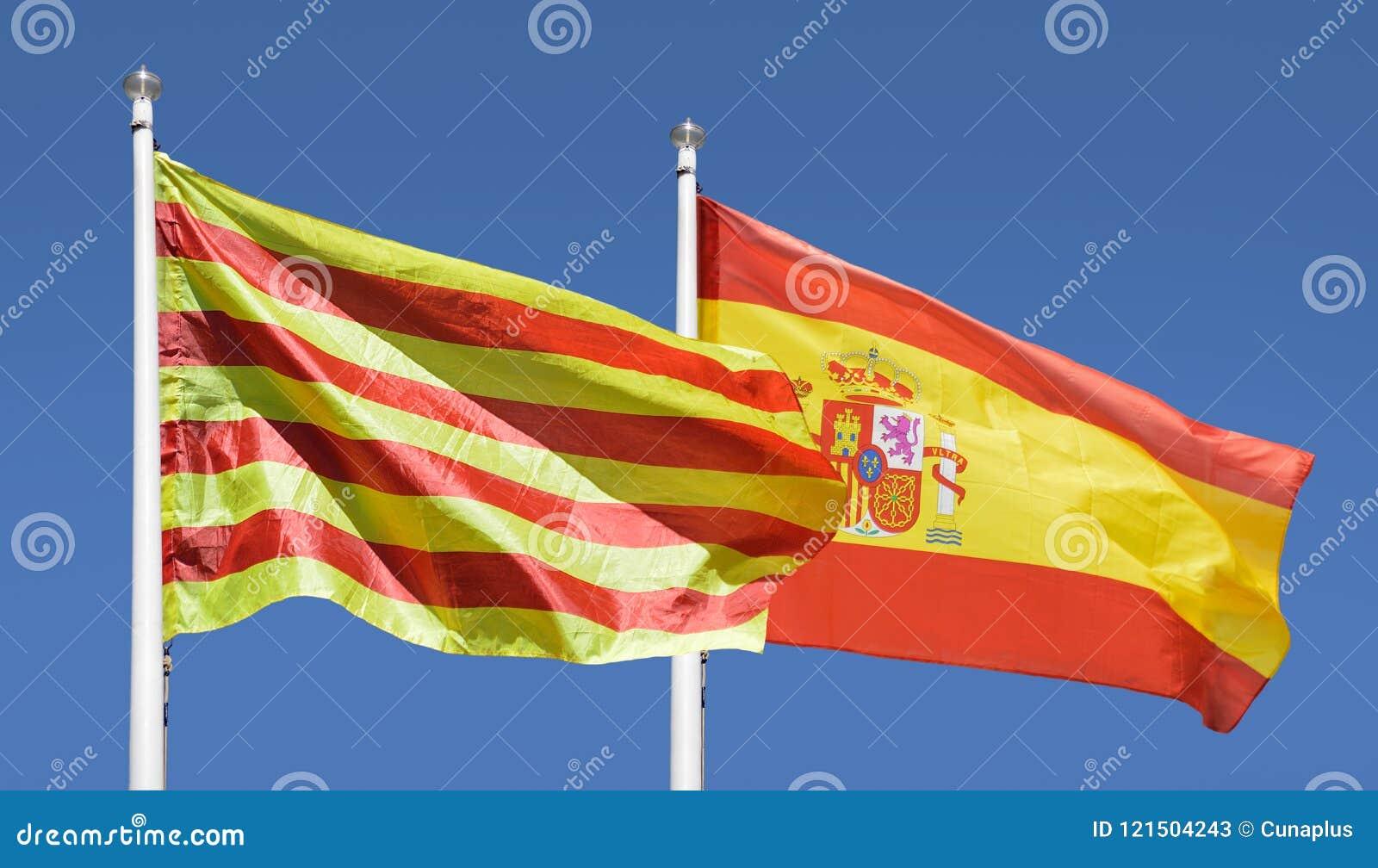 Bandera española y catalana