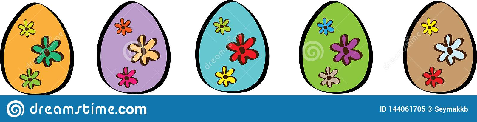 Bandera feliz de Pascua con el ejemplo de cinco huevos