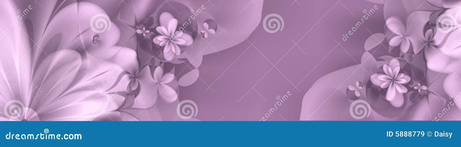 Bandera floral en purples y colores de rosa profundos