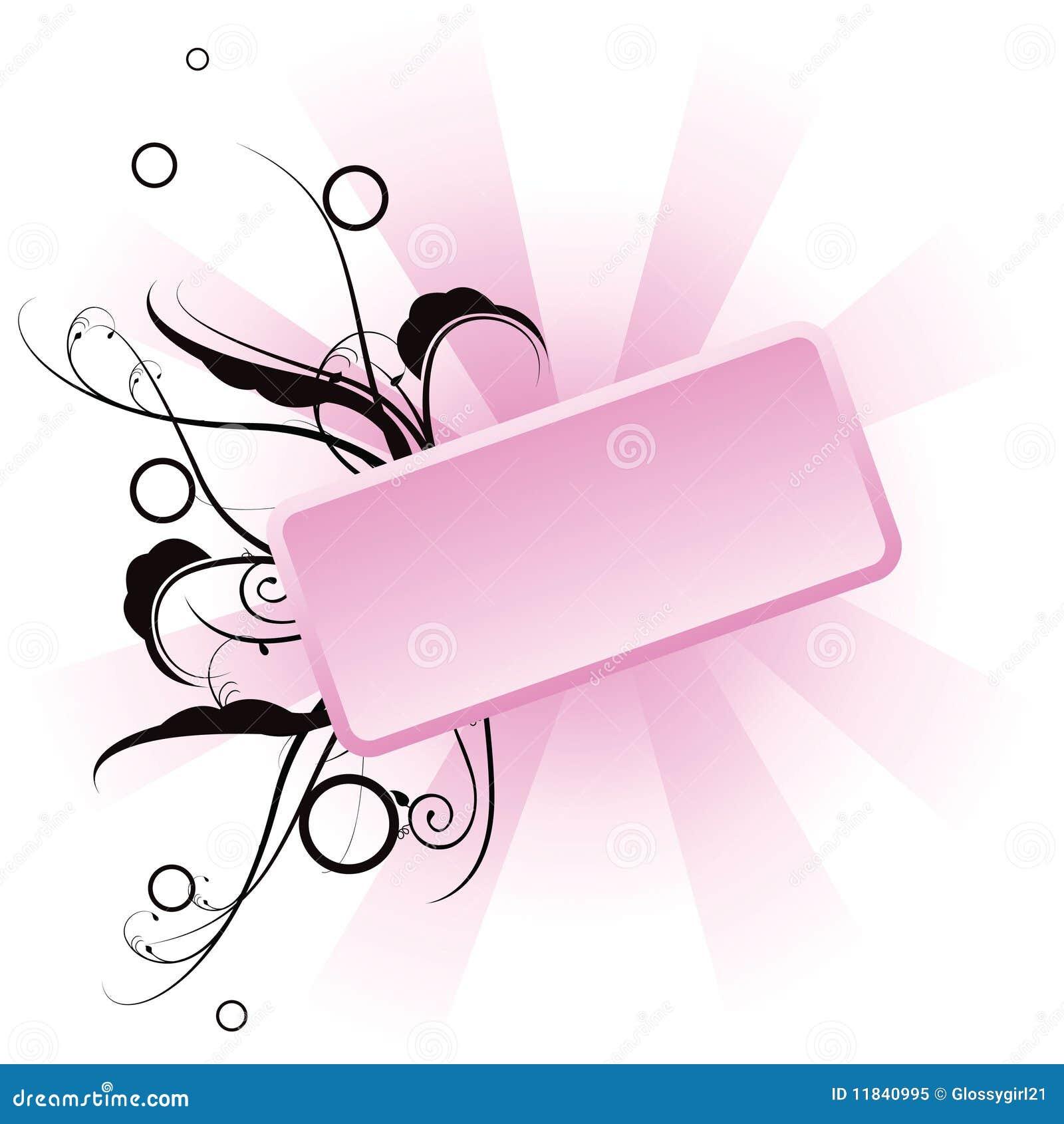 Bandera floral rosada