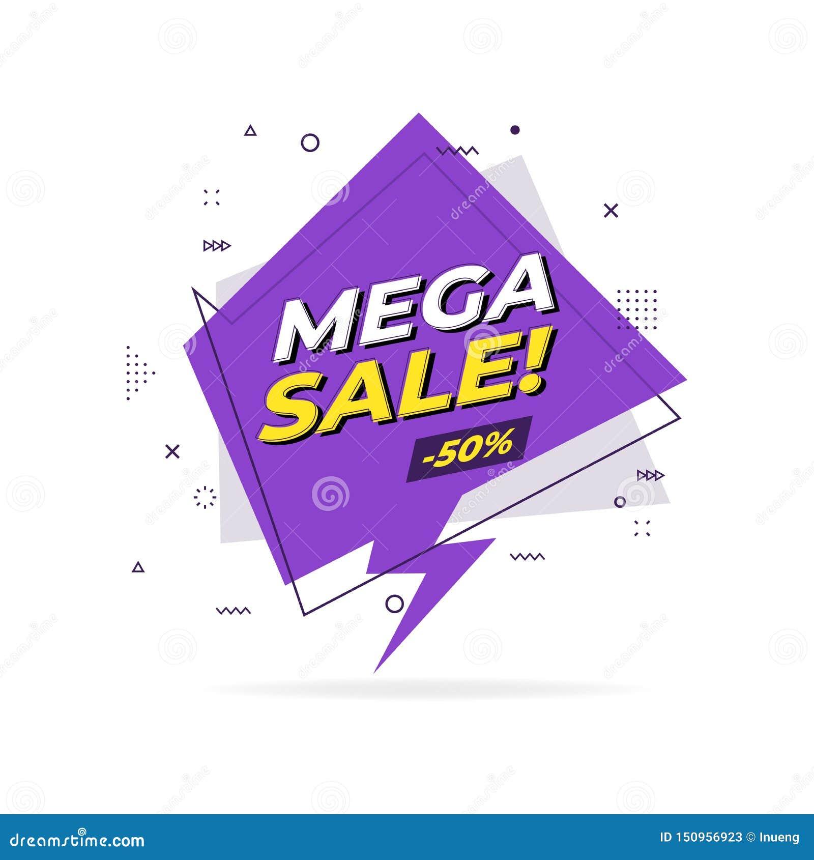 Bandera geométrica plana de moda de la venta mega Etiqueta mega de la venta en estilo del diseño de Memphis