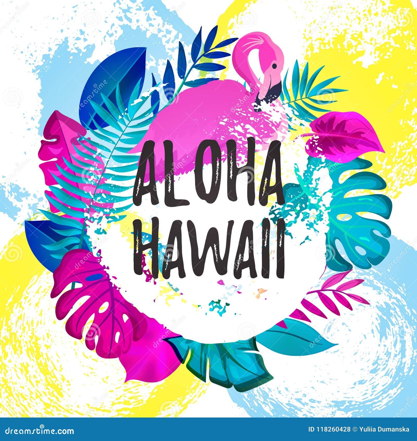 Bandera gteeting de HAWAII de la HAWAIANA Hojas de palma tropicales y fondo dibujado rosado del cepillo del flamenco a mano