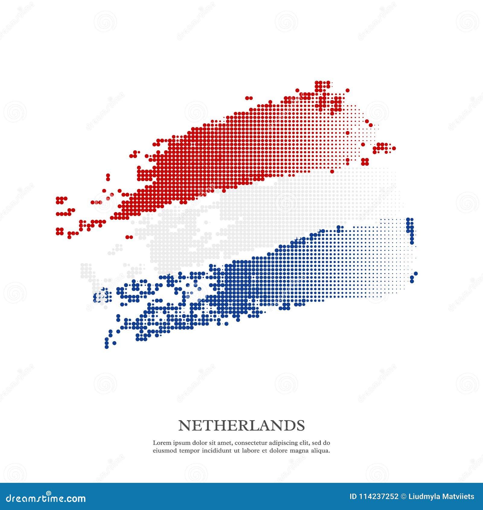 Bandera holandesa con el efecto de semitono, textura del grunge