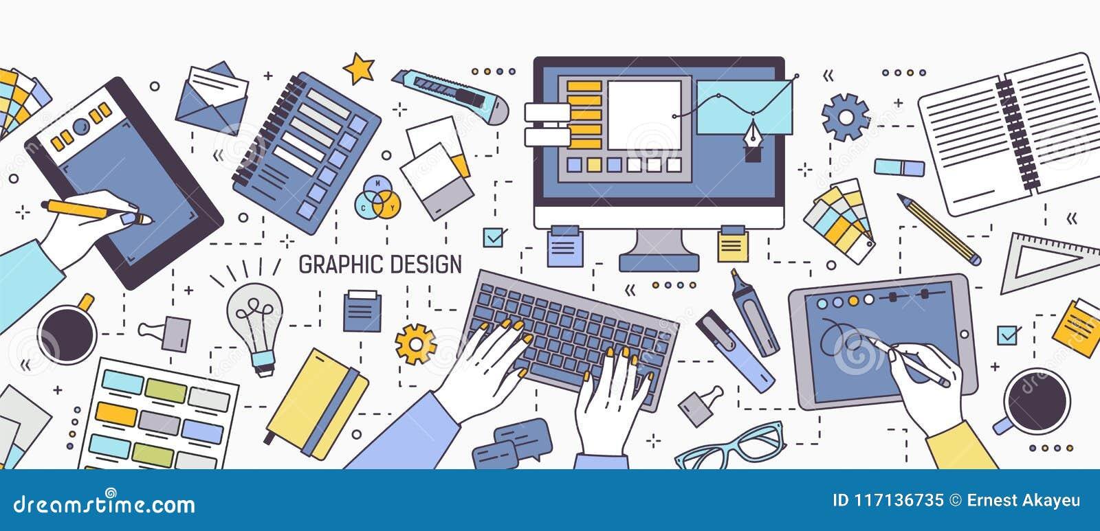 Bandera horizontal con las manos del diseñador que trabajan en el ordenador o que dibujan en la tableta rodeada por los materiale