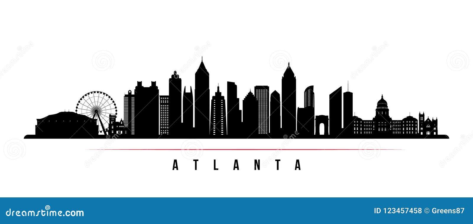 Bandera horizontal del horizonte de la ciudad de Atlanta