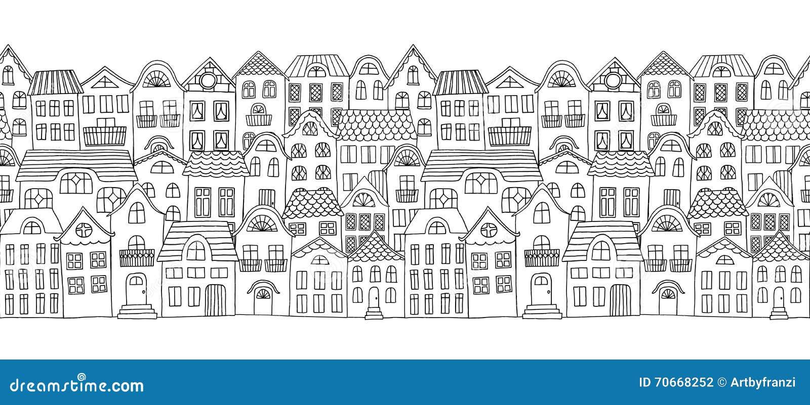 Bandera horizontal inconsútil con las pequeñas casas lindas
