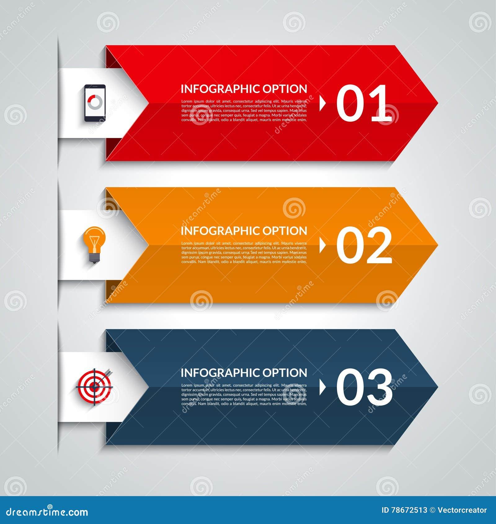 Bandera infographic de las opciones de la flecha Plantilla del vector con 3 pasos