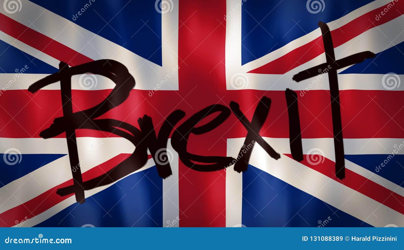 Bandera Inglesa Con La Palabra Brexit Cantidad Ideal Para
