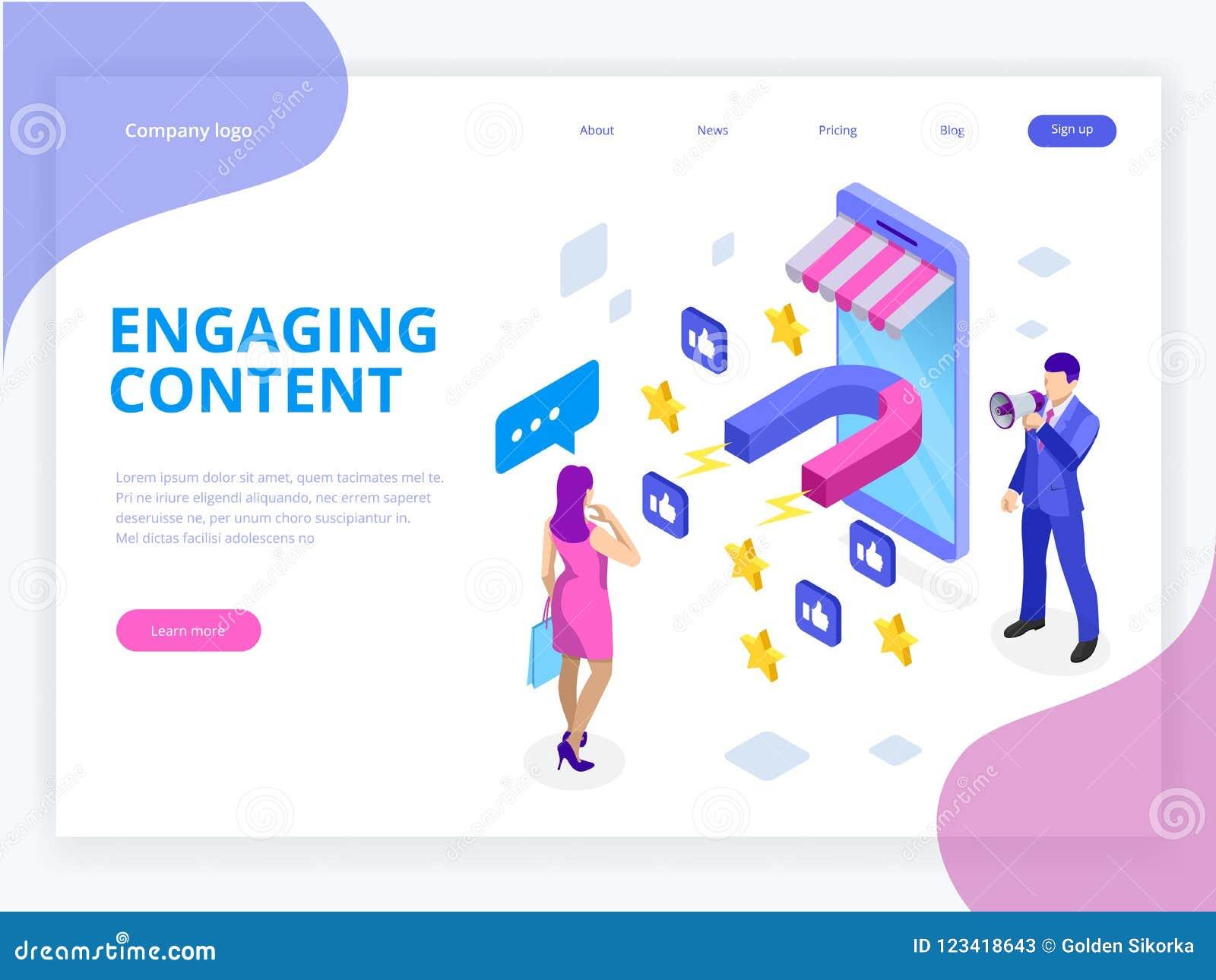 Bandera isométrica del web con el contenido de acoplamiento, éxito de márketing contento, mezcla del márketing Influencer social