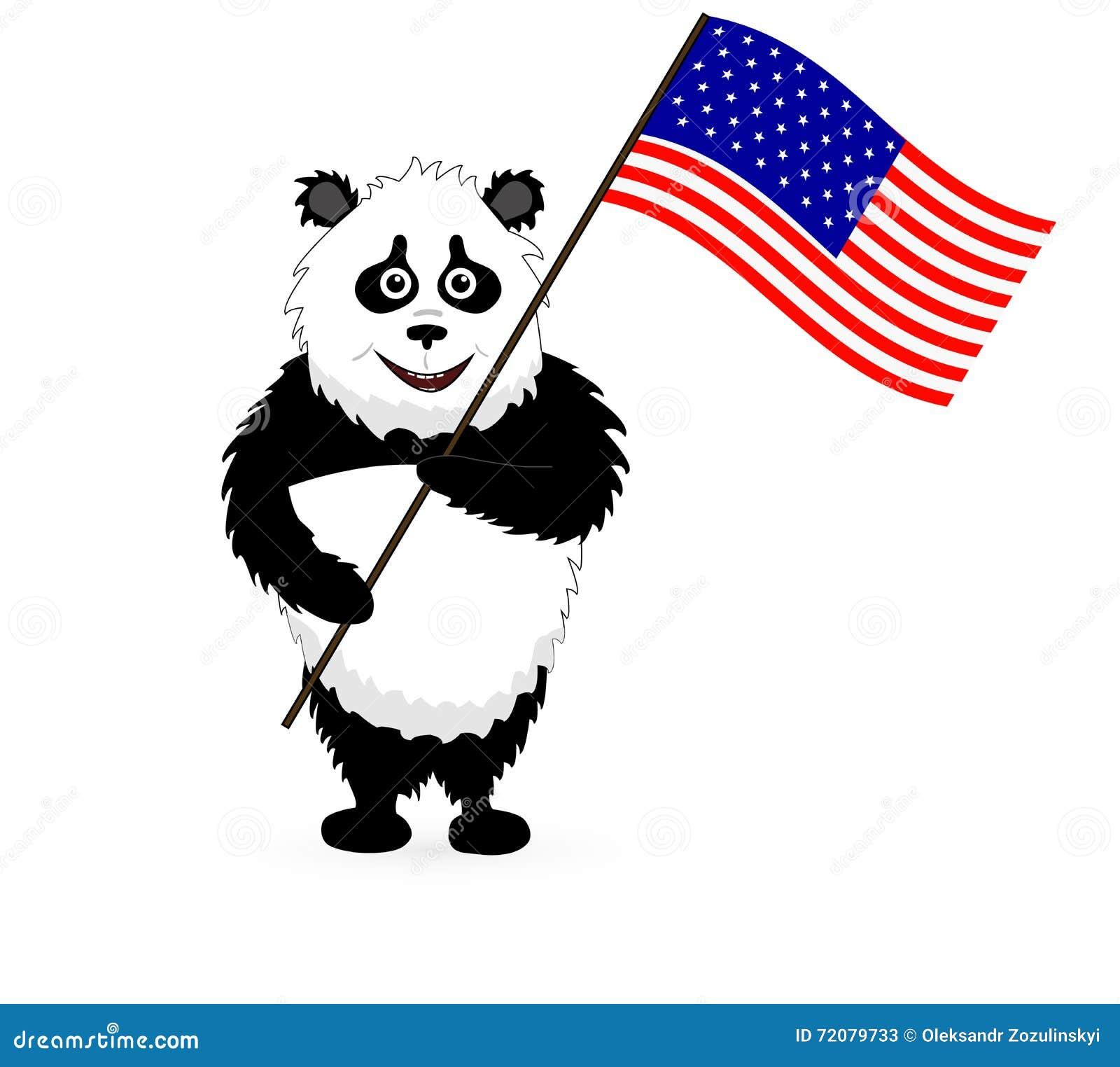 Bandera linda de Panda Holding los E.E.U.U. del vector