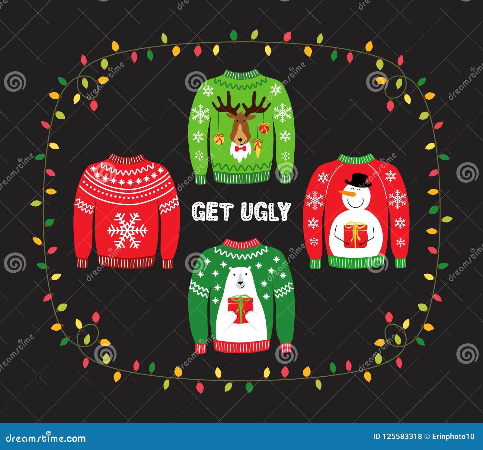 Bandera linda para la fiesta de Navidad fea del suéter