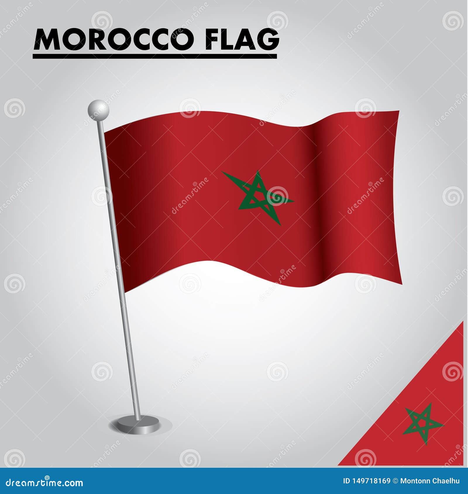 Bandera nacional de la bandera de MARRUECOS de MARRUECOS en un polo