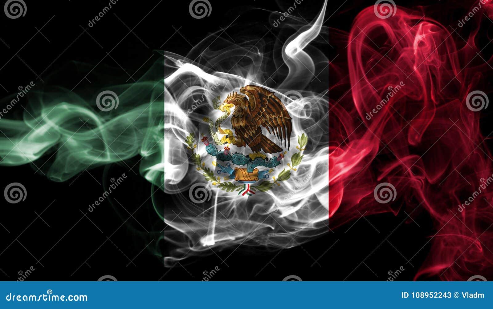 Bandera Nacional Del Humo De México Aislada En Un Fondo