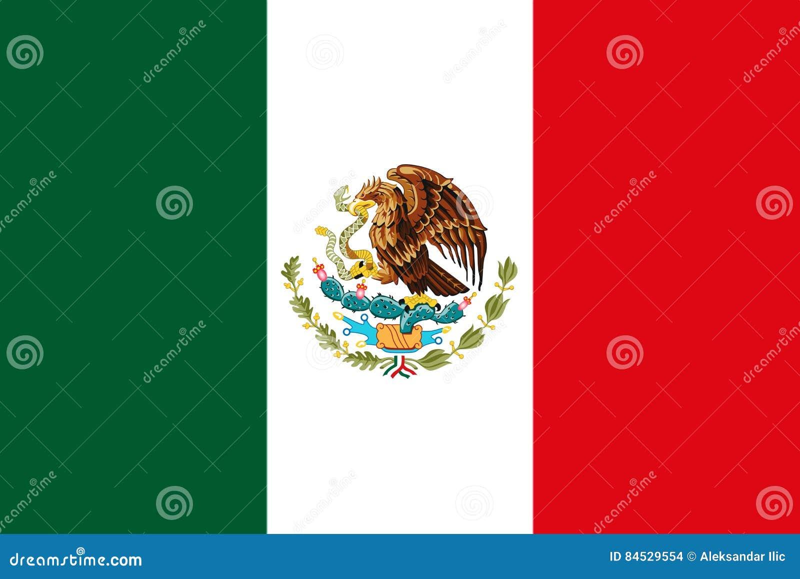 Bandera nacional mexicana con la representación de Eagle Coat Of Arms 3D