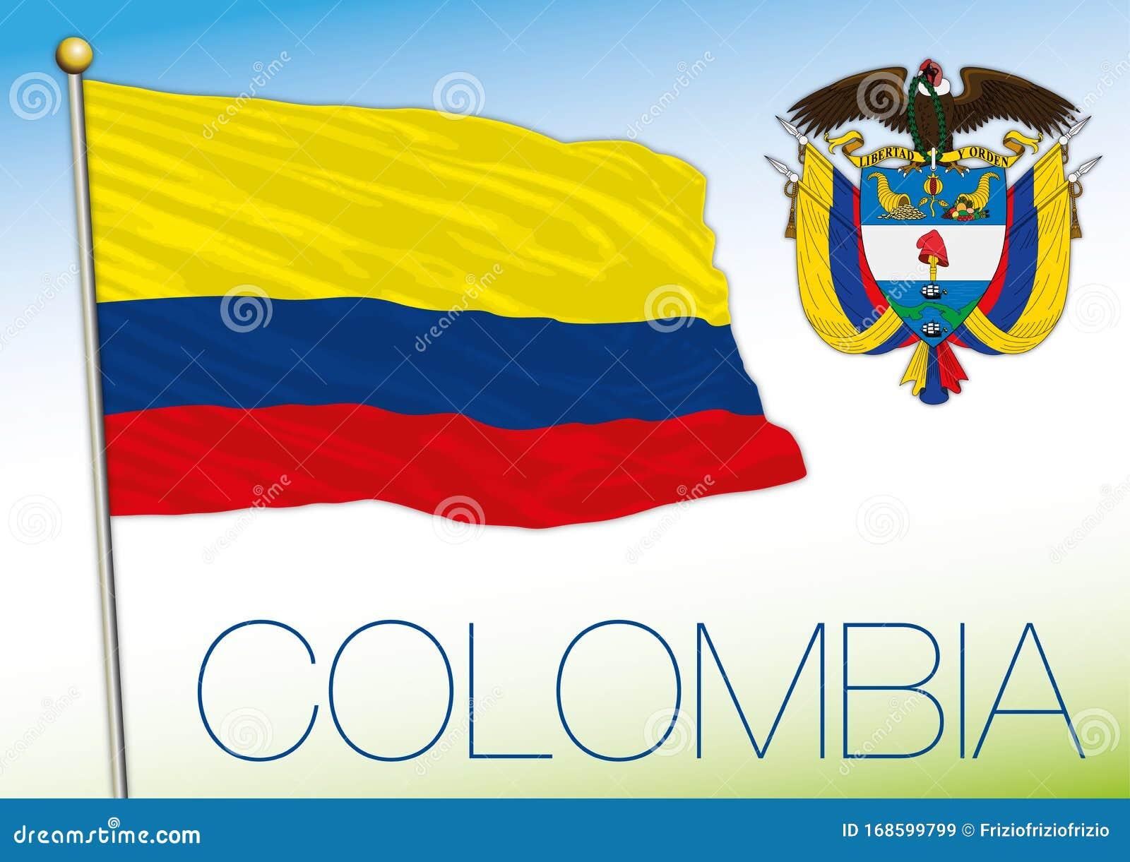 Bandera Nacional Oficial De Colombia Y Escudo De Armas Ilustracion Del Vector Ilustracion De Escudo Nacional 168599799