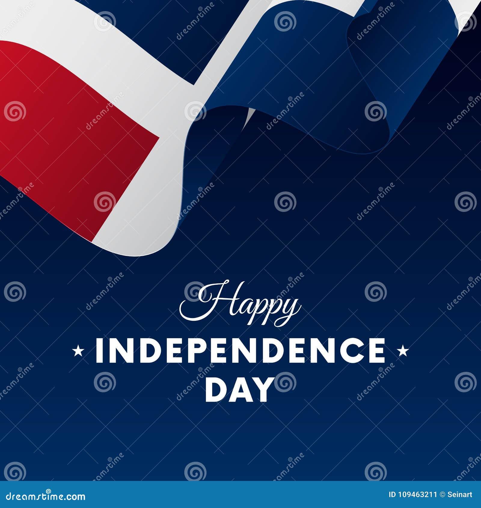 Bandera o cartel de la celebración del Día de la Independencia de la República Dominicana Indicador que agita Ilustración del vec