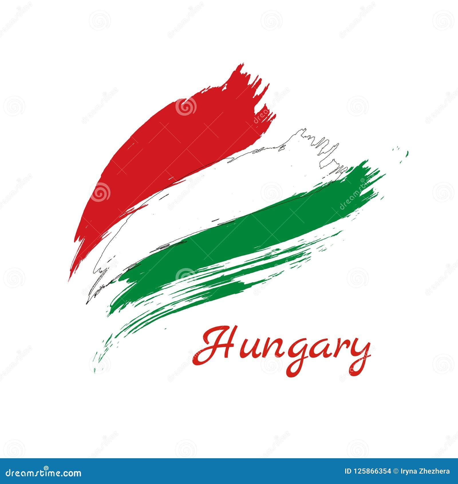 Bandera o Hungría pintada del grunge hecha de dos movimientos del cepillo: rojo y verde, en el fondo blanco