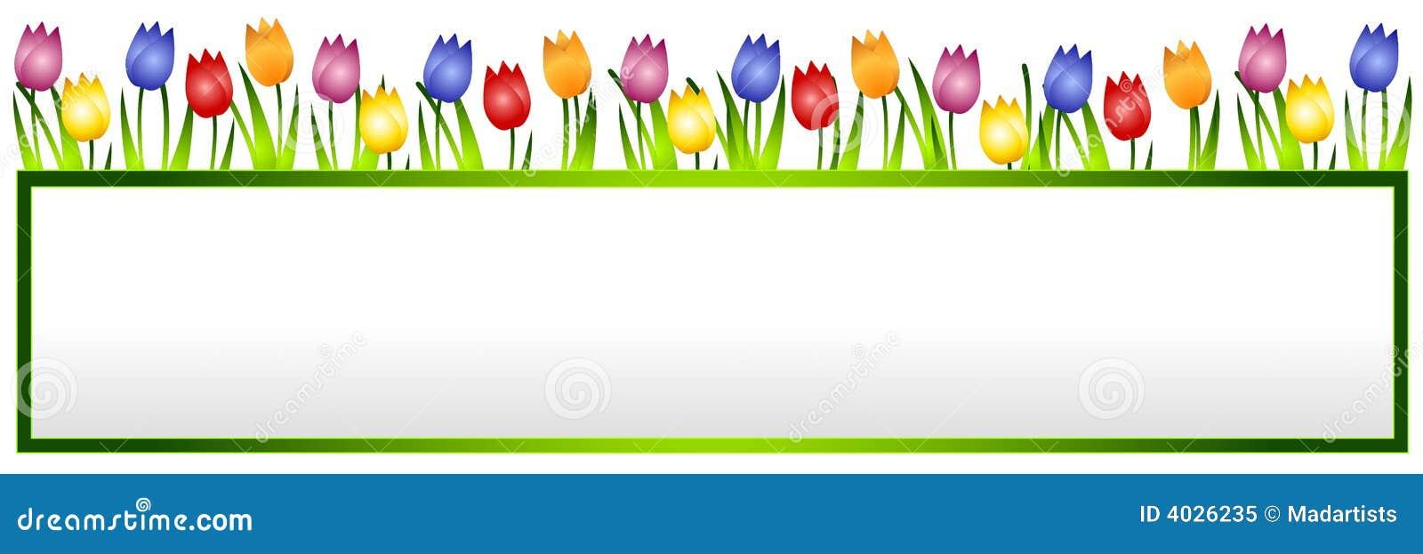 Bandera o insignia de la flor de los tulipanes del resorte