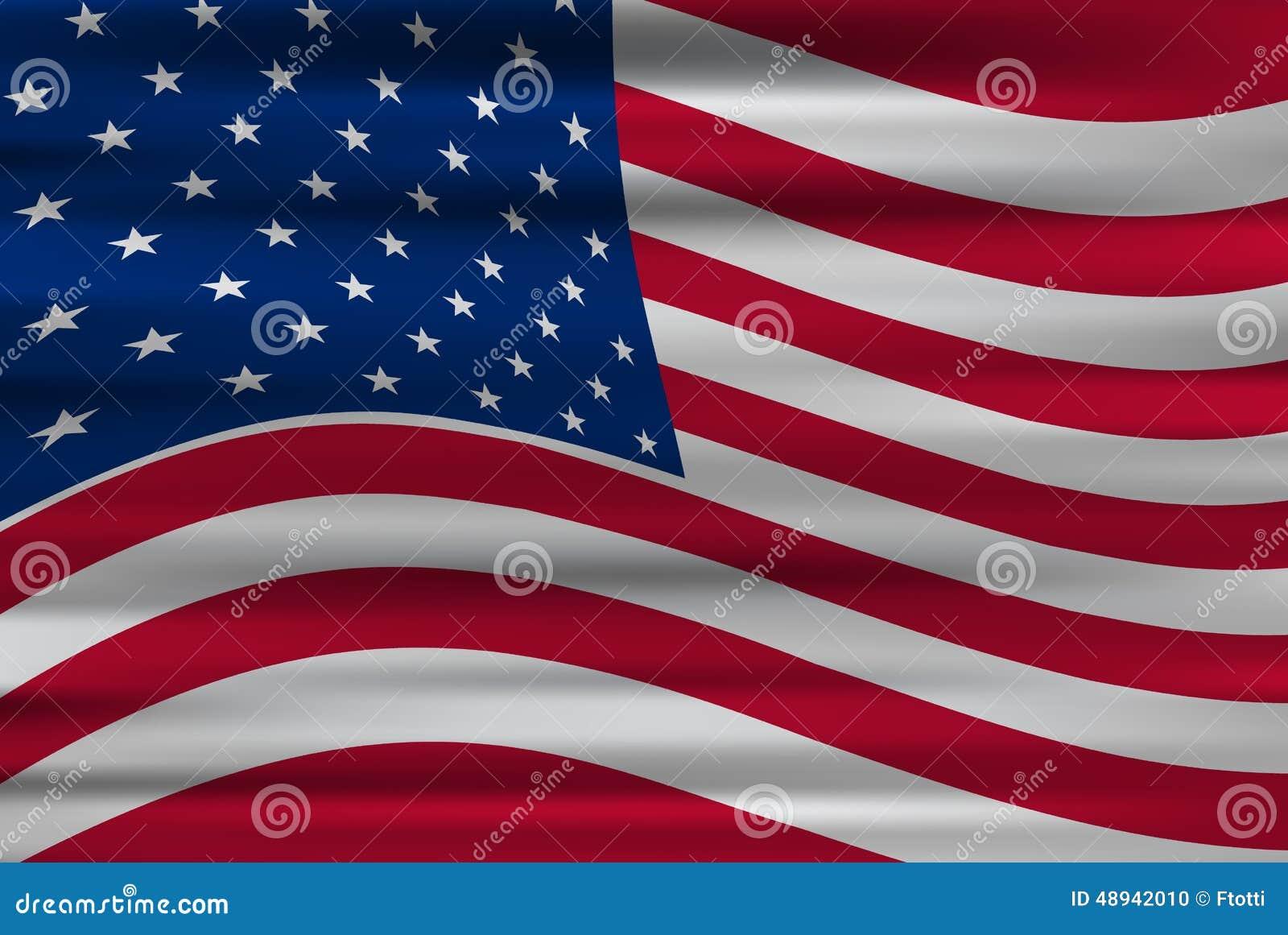 Bandera Ondulada De Los Estados Unidos De América