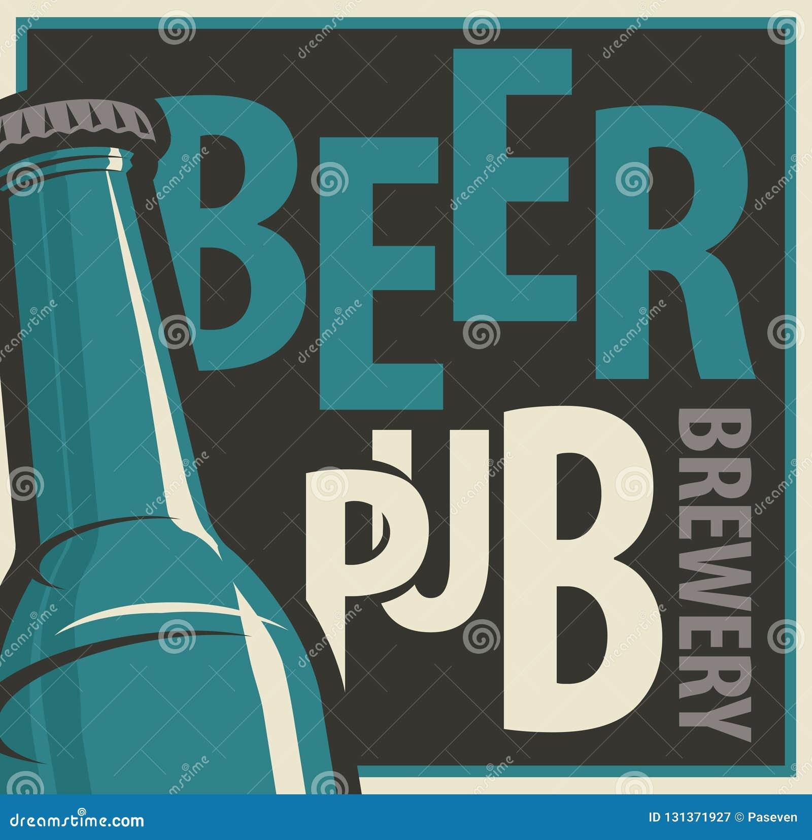 Bandera para el pub y la cervecería de la cerveza con la botella