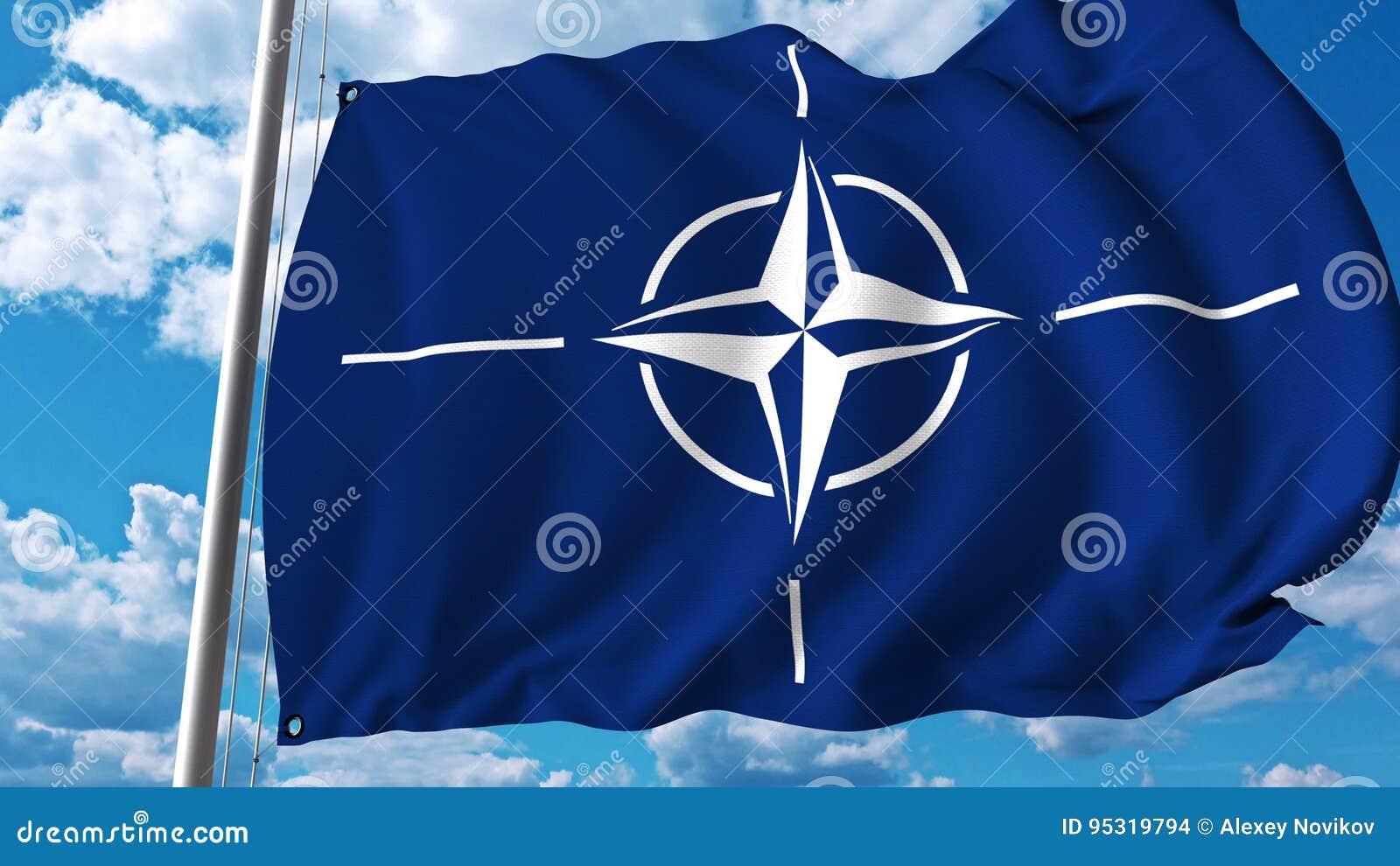 Bandera que agita con el logotipo de la OTAN Representación editorial 3D