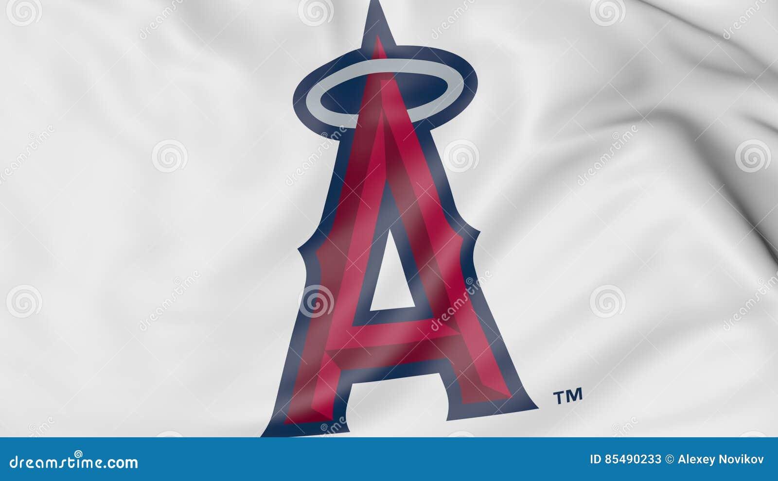 Primer de la bandera que agita con los ángeles de Los Ángeles del logotipo  del equipo de béisbol de Anaheim MLB 558b3ca118d