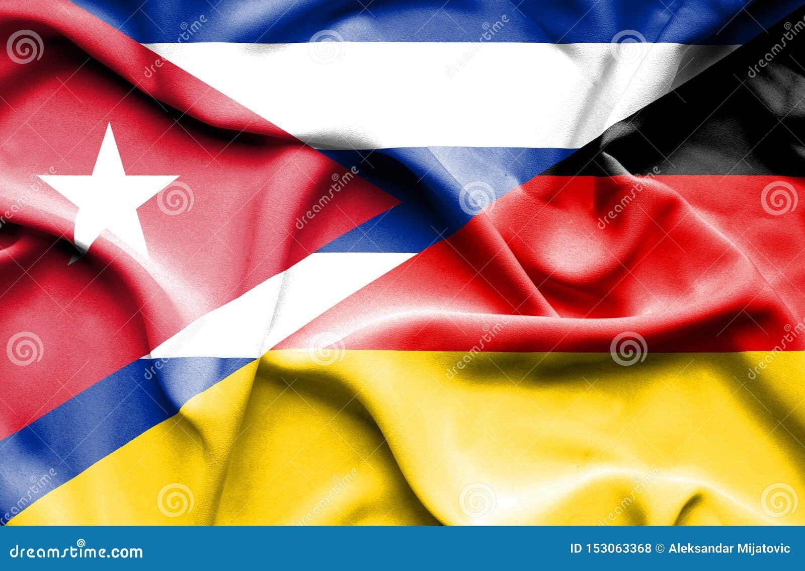 Bandera que agita de Alemania y de Cuba