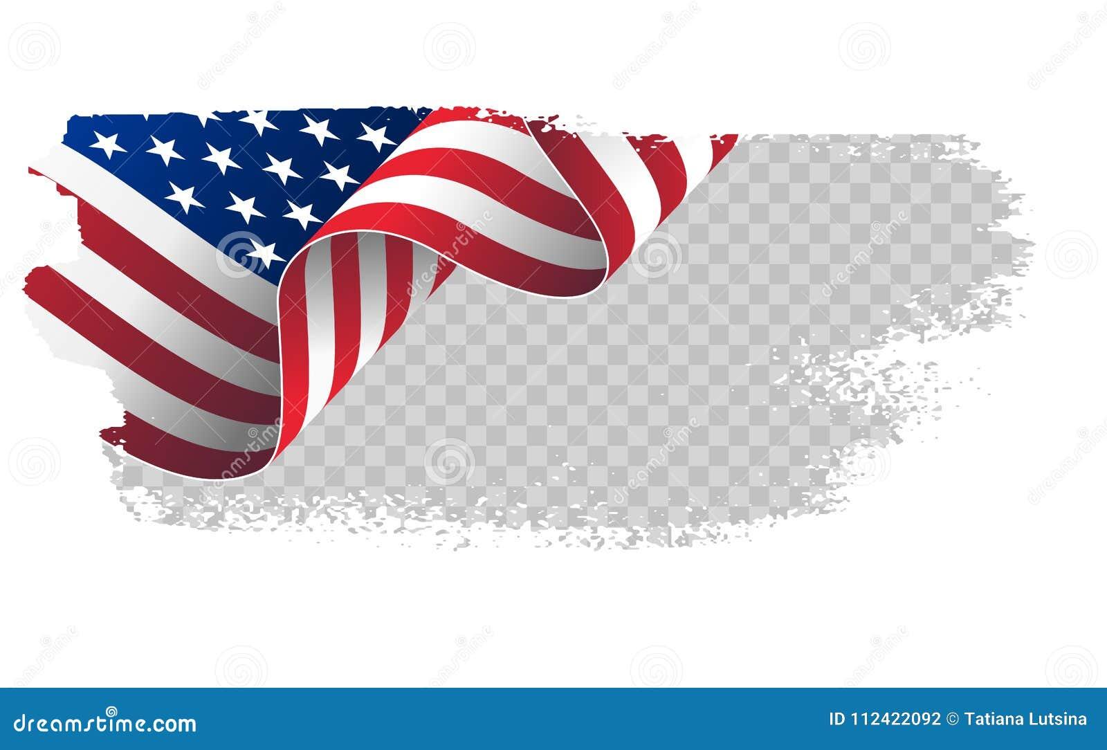Bandera que agita los Estados Unidos de América bandera americana ondulada del ejemplo para el fondo del movimiento del cepillo d