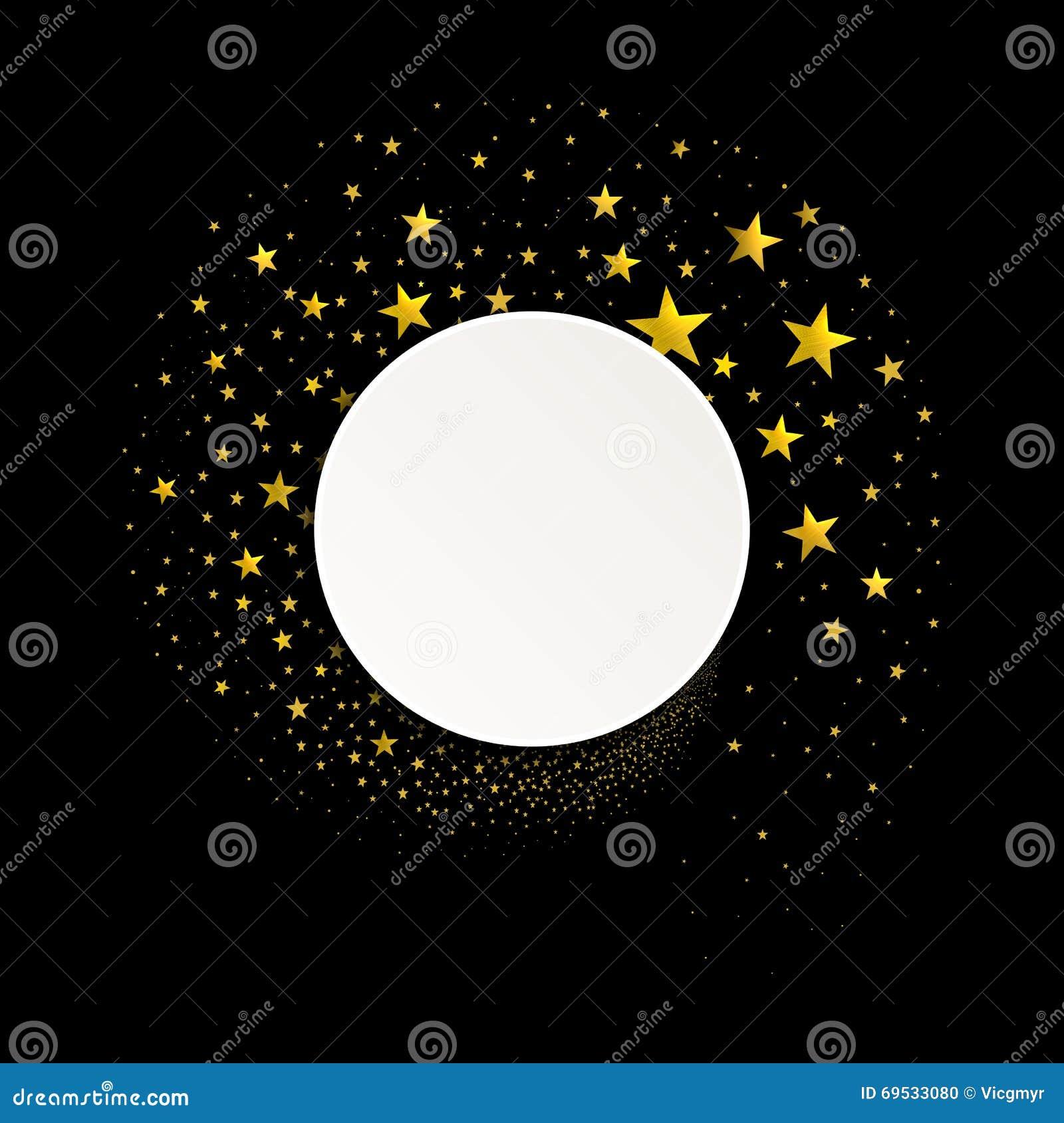 Bandera redonda con una corriente de las estrellas del oro