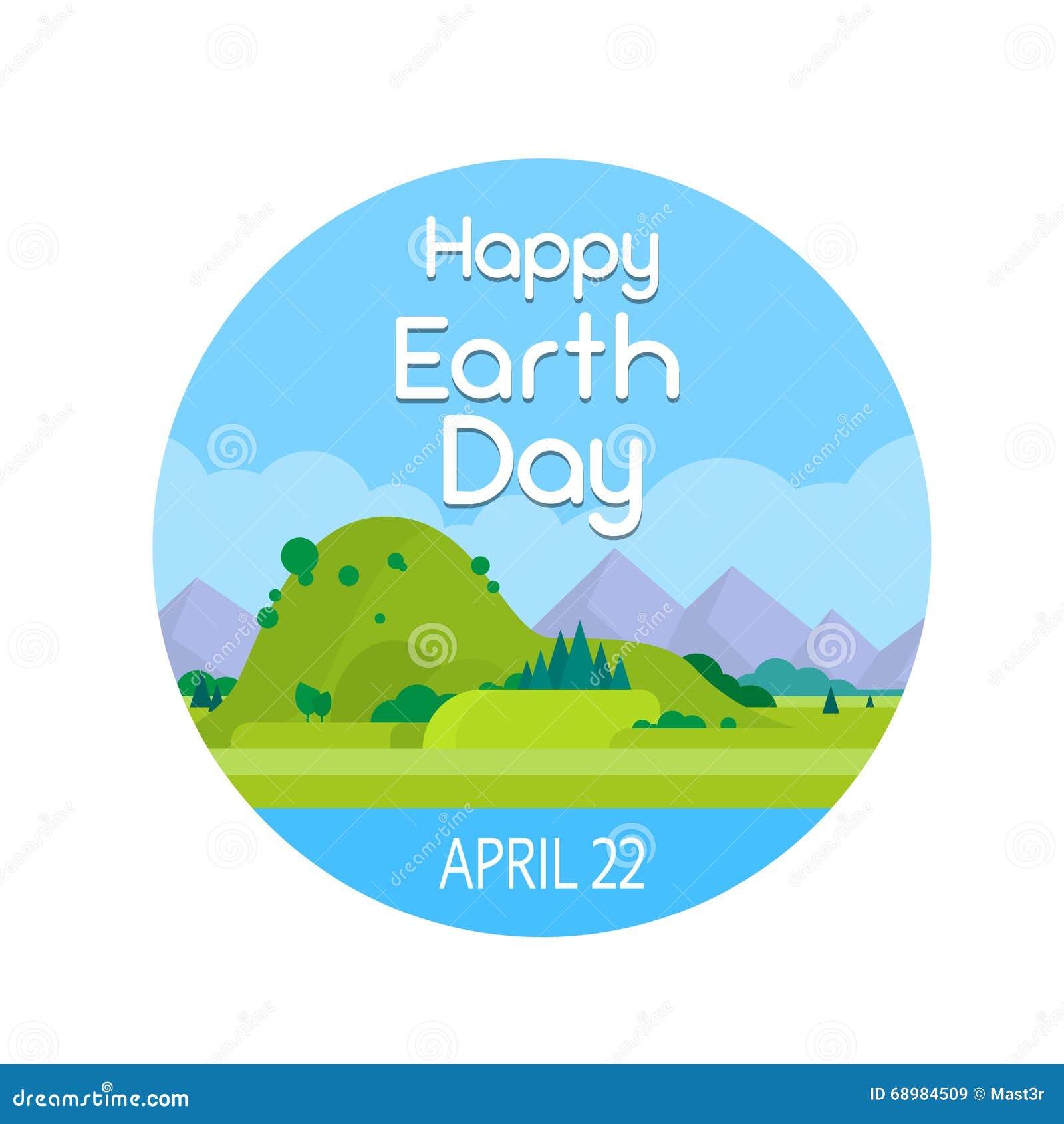 Bandera redonda del paisaje del verano de la naturaleza del Día de la Tierra