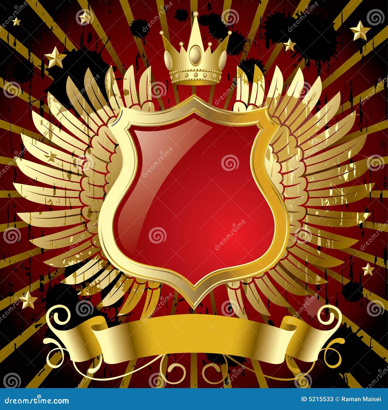 Bandera roja con las alas del oro