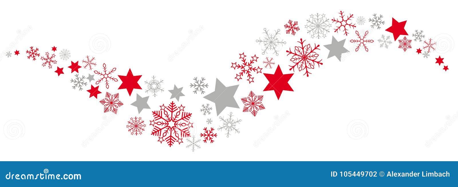 Bandera roja de Gray Snowflakes Stars Dust Flat de la Navidad
