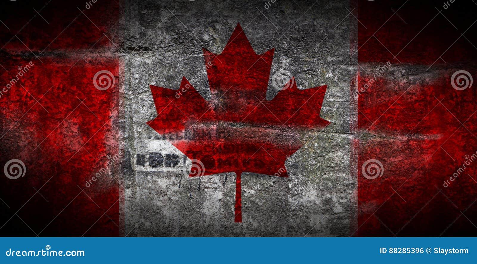 Bandera Sucia De Canadá En El Primer De Piedra Del Fondo De La ...