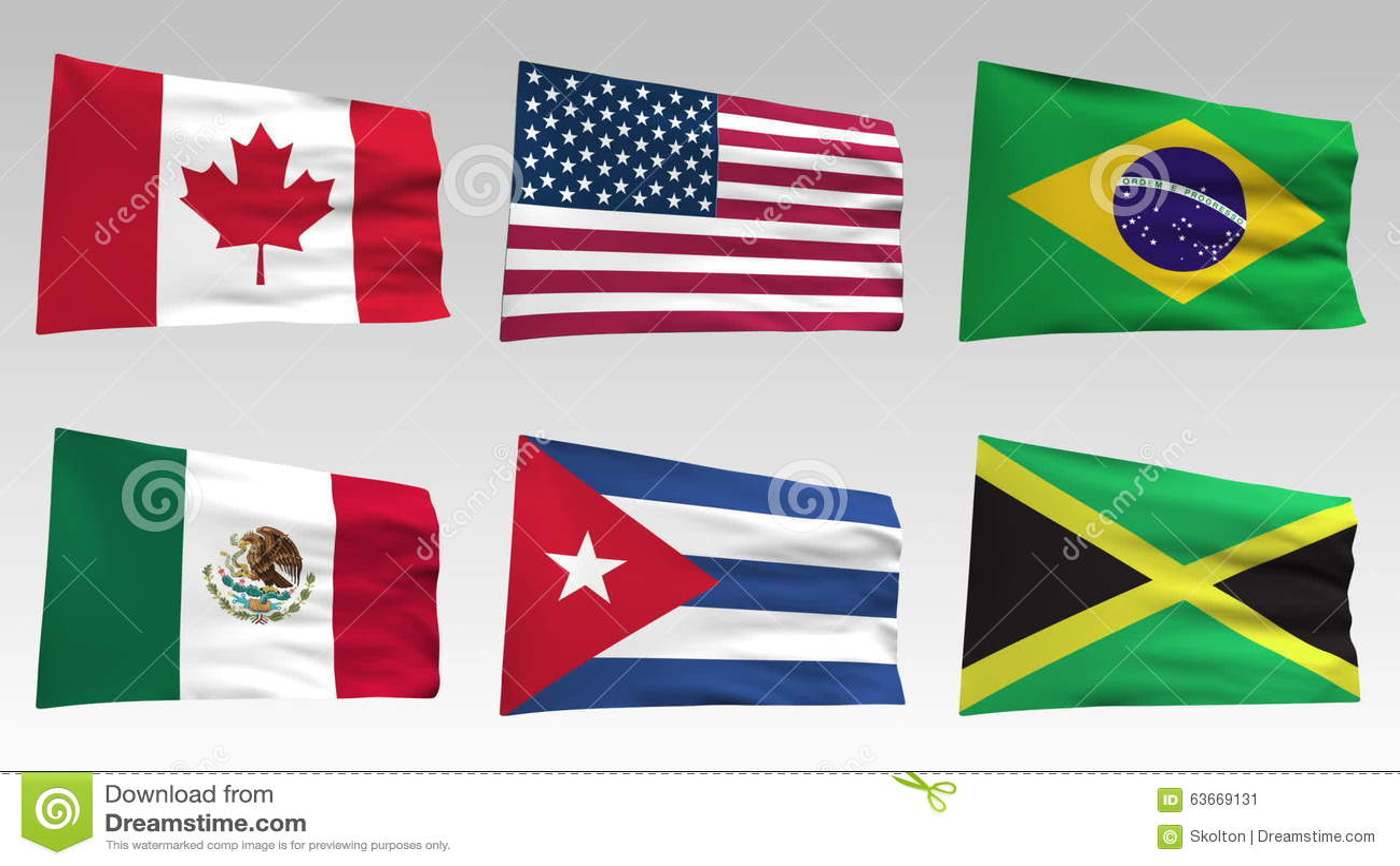 Banderas Animadas De La Colección De América Con El Canal Alfa Bolivia Chile Colombia La Argentina Guinea Francesa Belice México Animación