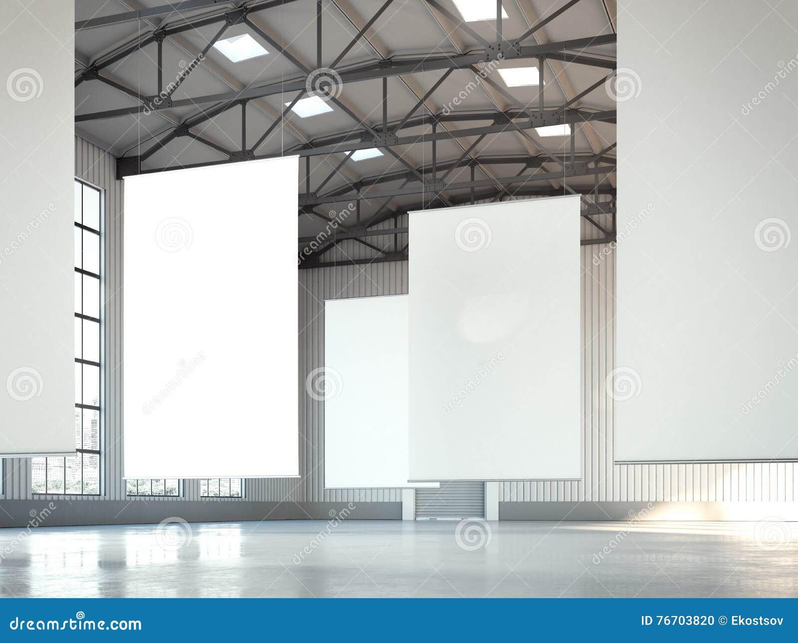 Banderas blancas en blanco en área del hangar representación 3d