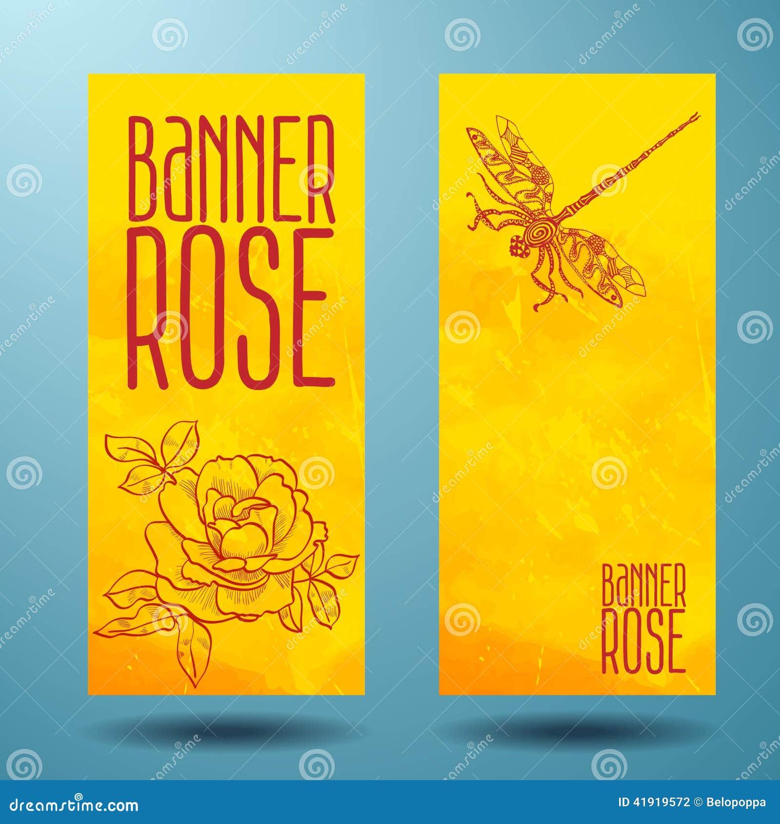 Banderas con color de rosa y libélula en garabato