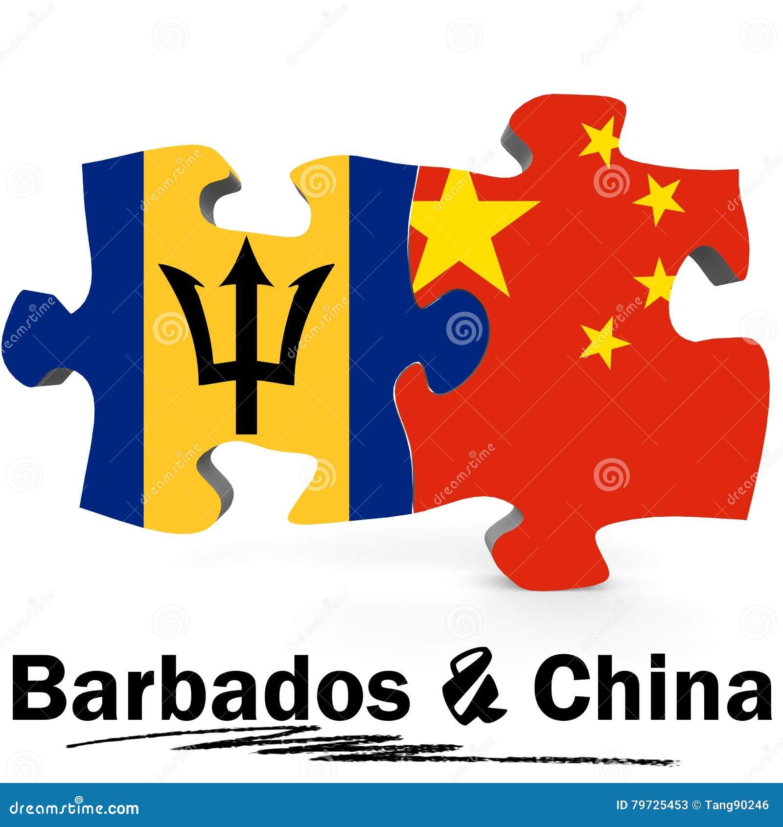 Banderas de China y de Barbados en rompecabezas