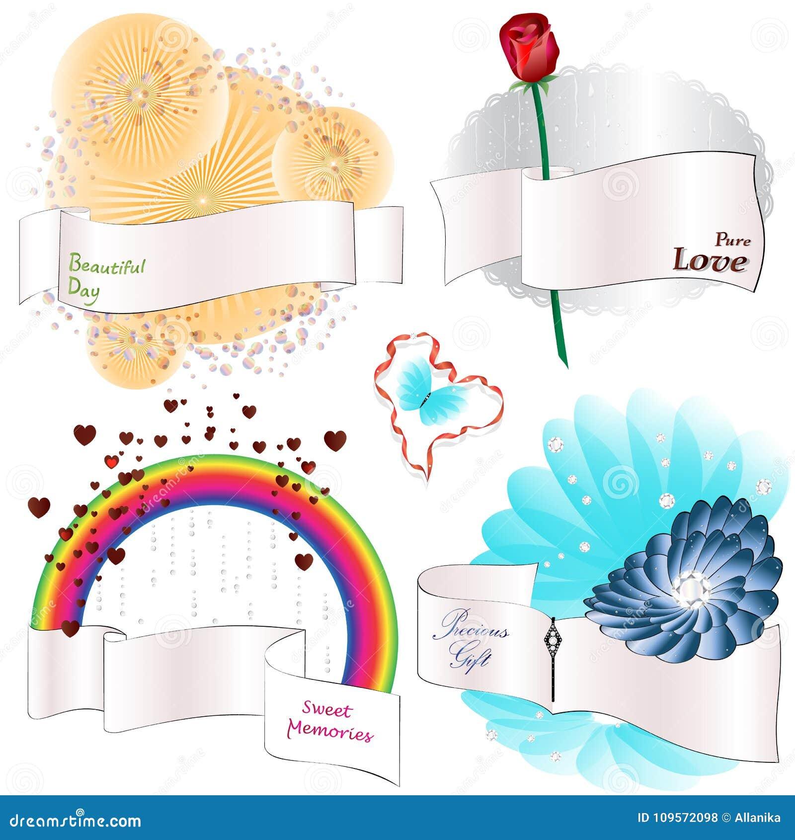 Banderas de la cinta con los elementos decorativos