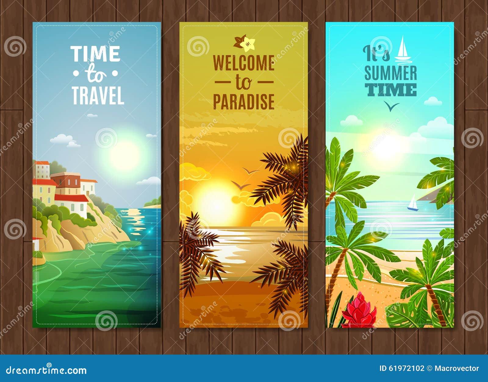 Banderas de las vacaciones del mar de la agencia de viajes fijadas stock de ilustraci n imagen - Banera de viaje ...