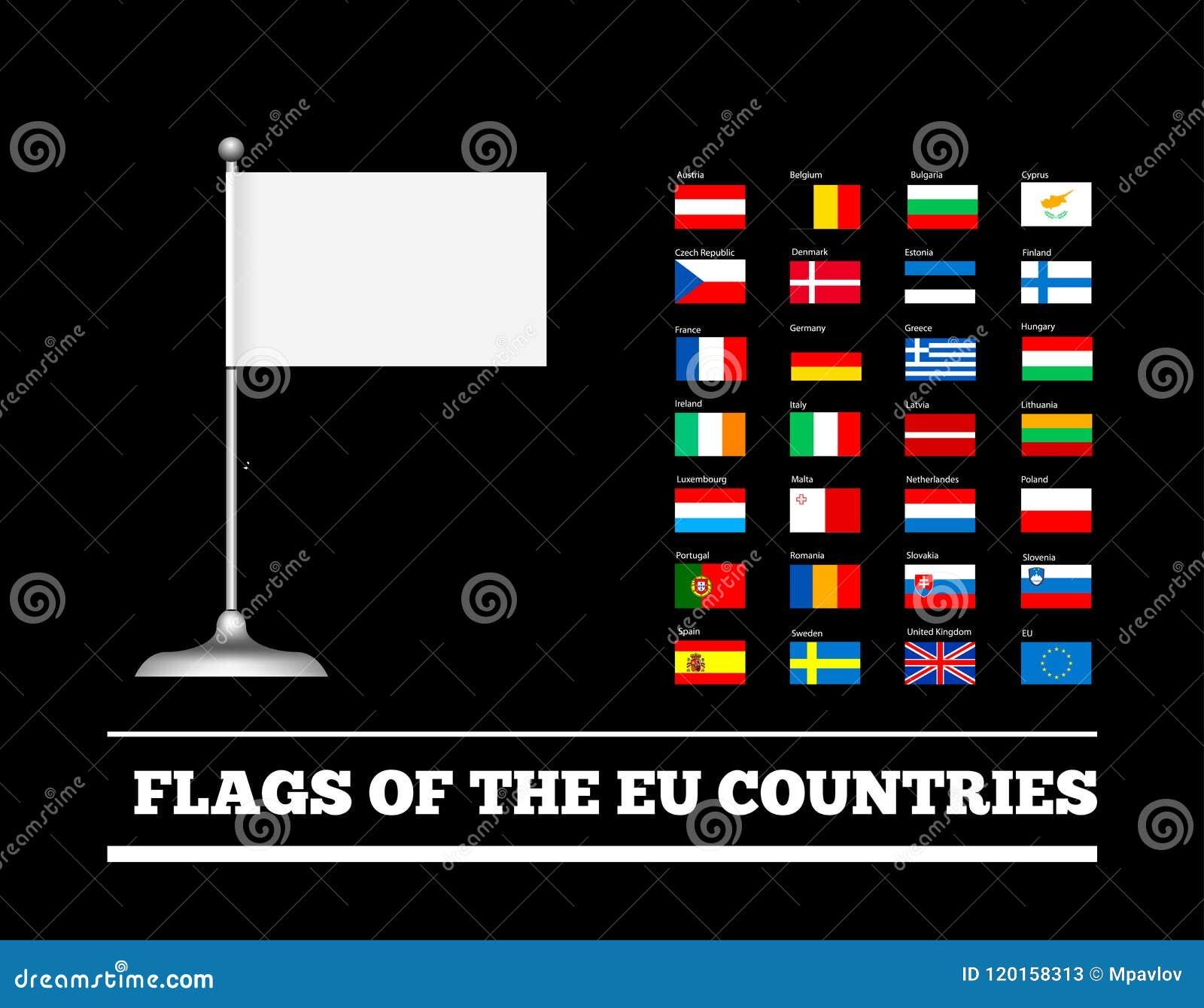 Banderas de los países de la unión europea Banderas del Eu Sistema del vector