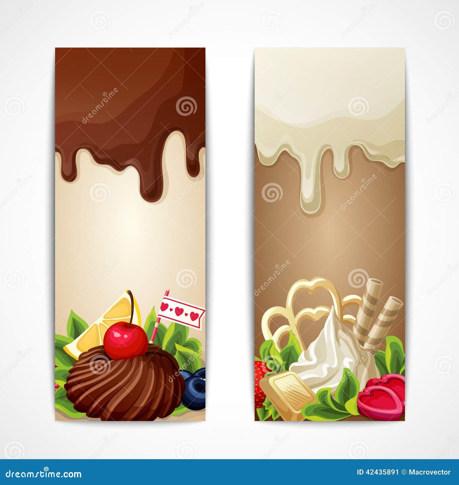 Banderas del chocolate verticales