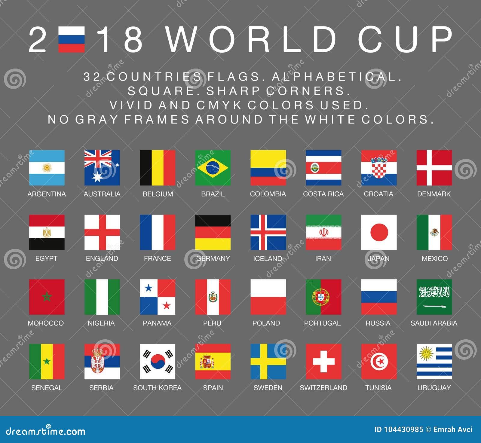 Banderas del mundial 2018 del Fifa de 32 países