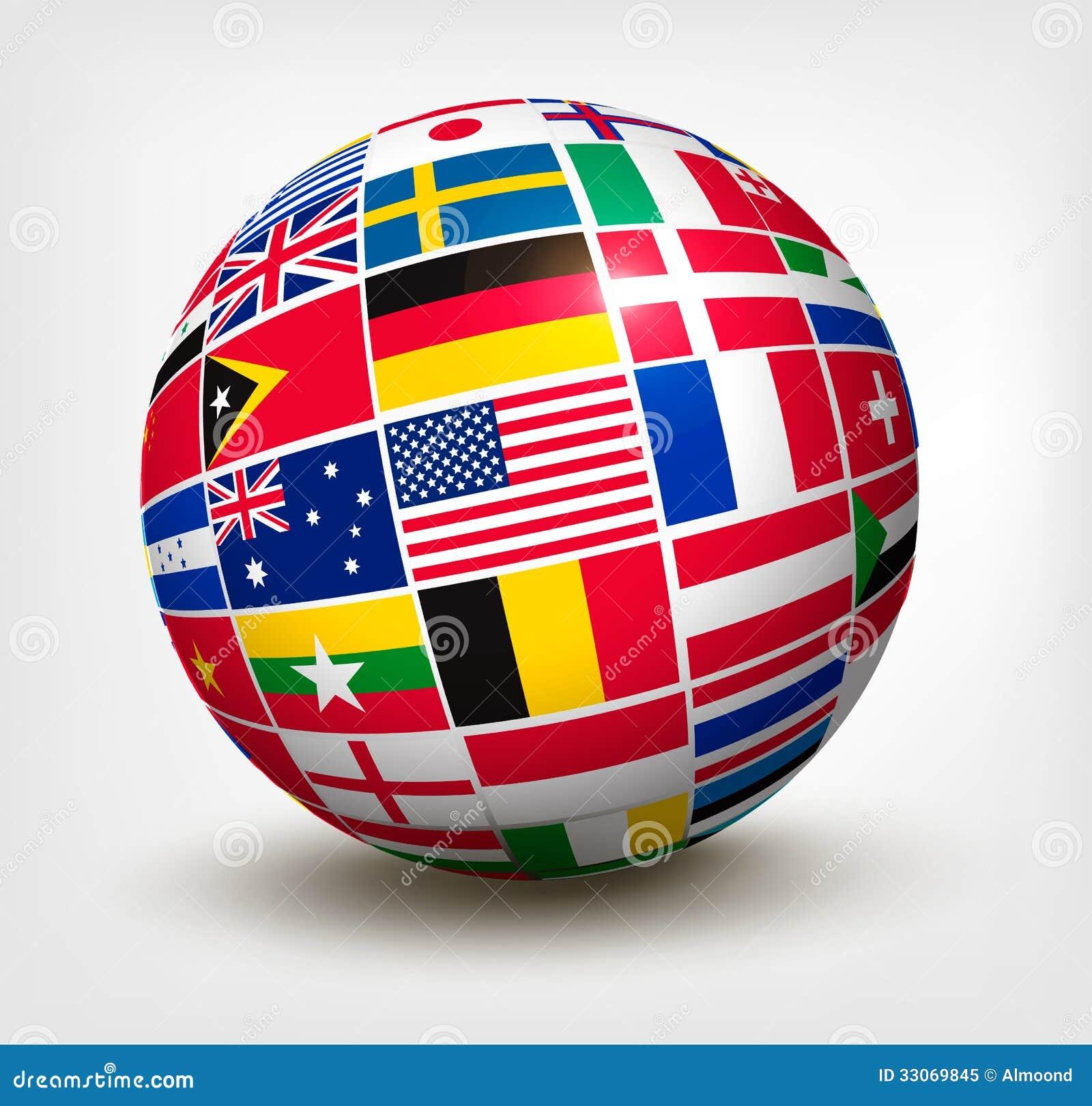 Banderas del mundo en globo ilustraci n del vector for El mundo del mueble sillones