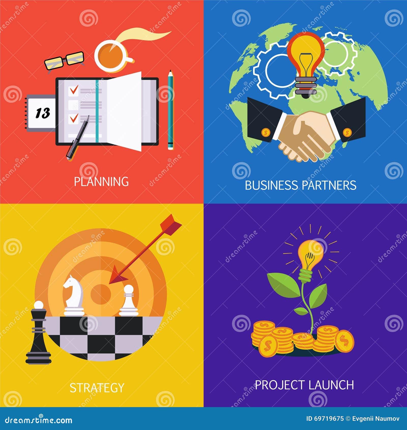 Banderas del negocio socios comerciales, estrategia, planeamiento y lanzamiento del proyecto Vector plano